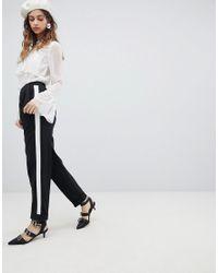 Miss Selfridge - Black Side Stripe Turn Up Tapered Pants - Lyst