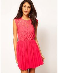 ASOS - Green Asos Skater Dress with Lace and Mesh - Lyst