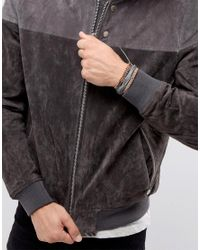 Icon Brand - Black Ico N Brand Grey Leather & Beaded Braclet In 2 Pack for Men - Lyst