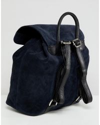 ASOS - Blue Suede Backpack - Lyst