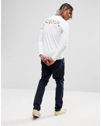 ASOS - White Extreme Muscle Long Sleeve T-shirt With Text & Rose Back Print for Men - Lyst