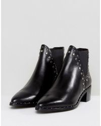 Steve Madden - Black Doruss Leather Studded Boots - Lyst