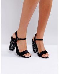 8abc47502a6f Truffle Collection Sparkle Block Heel Sandal in Black - Lyst