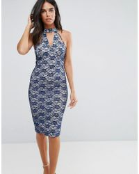AX Paris - Blue Navy Strappy Bodycon Lace Dress With Underlay - Lyst