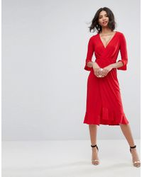 ASOS - Red Wrap Front Midi Dress With Frill Detail - Lyst