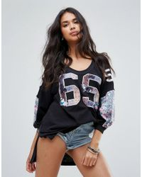Free People - Black Floral Bomb Print Long Sleeved T-shirt - Lyst
