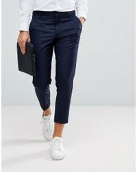 SELECTED - Blue Smart Cropped Pants In Navy - Lyst