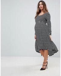Bluebelle Maternity - Multicolor Nursing Long Sleeved Wrap Front Midi Dress - Lyst