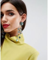 ASOS - Metallic Statement Garden Jewel Drop Earrings - Lyst