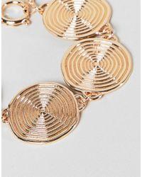 ASOS - Metallic Design Statement Swirl Coin Bracelet - Lyst