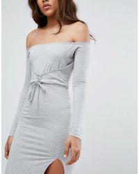 ASOS - Gray Corset Detail Bardot Midi Dress - Lyst