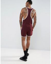ASOS - Red Racer Back Runner Short Onesie In Burgundy for Men - Lyst