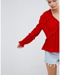 ASOS - Red Casual Blouse In Crinkle - Lyst