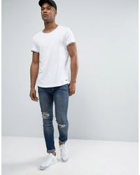 Esprit - White Longline T-shirt With Double Hem And Curve Bottom for Men - Lyst
