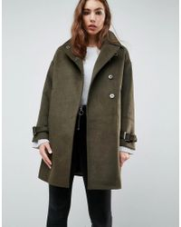 ASOS - Green Oversized Coat With Buckle Funnel Neck - Lyst