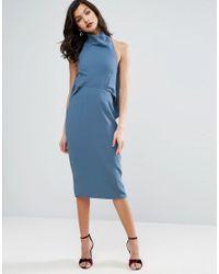 ASOS | Blue High Neck Waterfall Back Pencil Midi Dress | Lyst