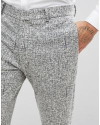 ASOS - Multicolor Super Skinny Suit Trousers In Black And White Printed Crosshatch for Men - Lyst