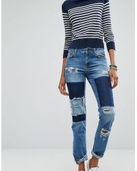 Noisy May Tall | Blue Girlfriend Patchwork Jeans | Lyst