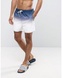 Another Influence - Blue Dip Dye Swim Shorts for Men - Lyst
