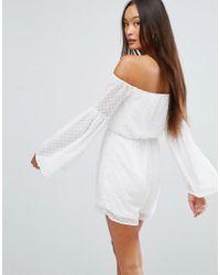 Girl In Mind - White Polka Flare Sleeve Playsuit - Lyst