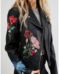 New Look - Black Embroidered Hero Biker Jacket - Lyst