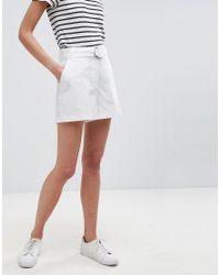 ASOS - White Tailored D-ring Linen Shorts - Lyst