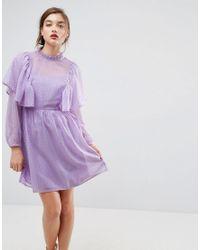 59373816f273 ASOS Asos Metallic Spot Ruffle Smock Mini Dress in Purple - Lyst