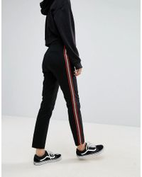 ASOS DESIGN - Black Asos Cigarette Trousers With Side Stripe - Lyst