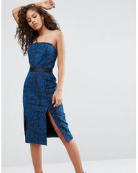 ASOS - Blue Bandeau Midi Dress With Contrast Lining - Lyst