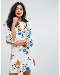 Boohoo - Blue Floral Flare Sleeve Skater Dress - Lyst