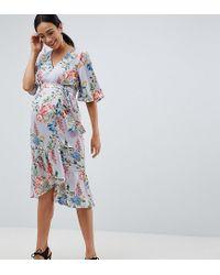 d5e5136bb2e25 Women's Blue Asos Design Maternity Floral Print Kimono Sleeve Wrap Midi  Dress