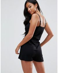 ASOS - Black Cami Wrap Front Playsuit - Lyst