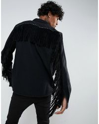 ASOS - Black Festival Overshirt In Denim With Studding And Fringing for Men - Lyst