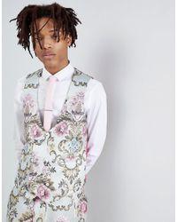 ASOS - Blue Wedding Skinny Suit Vest In Pastel Floral Jacquard for Men - Lyst