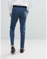 ASOS - Asos Skinny Suit Trousers In Blue Gradient Wool Blend Check for Men - Lyst