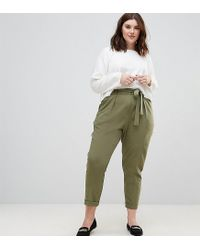 ASOS - Green Woven Peg Pants With Obi Tie - Lyst