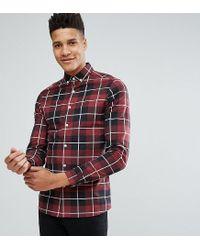 ASOS - Red Tall Skinny Check Shirt for Men - Lyst