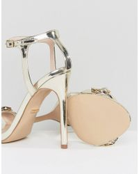 Carvela Kurt Geiger - Metallic Gail Rose Gold Embellished Heeled Sandals - Lyst