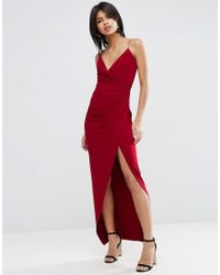 ASOS - Red Drape Cami Maxi Dress - Lyst