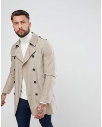 ASOS - Natural Shower Resistant Trench Coat In Stone for Men - Lyst