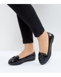 New Look - Black Patent Fringe Loafer - Lyst