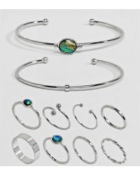 ASOS - Metallic Asos Design Curve Exclusive Pack Of 10 Stone Cuff Bracelets And Rings - Lyst