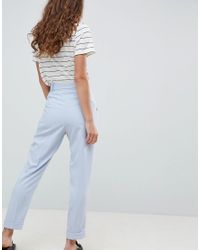 ASOS - Blue Woven Peg Trousers With Obi Tie - Lyst