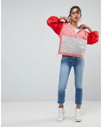 ASOS - Red Design Over The Head Rainmac In Color Block - Lyst