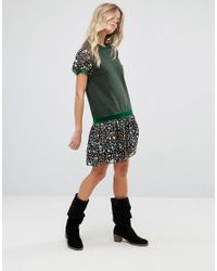 Anna Sui - Green Drop Waist Jersey Dress In Dandelion Medley Print - Lyst