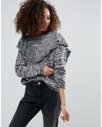 Monki - Gray Ruffle Panel Sweater - Lyst