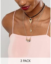 ASOS - Metallic Pack Of 3 Layering Choker Charm Necklaces - Lyst