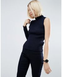 ASOS - Blue Sweater In Rib With One Sleeve - Lyst