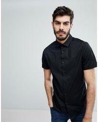 ASOS - Skinny Shirt In Black With Short Sleeves for Men - Lyst