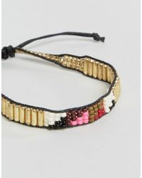 Pieces - Metallic Aztec Bracelet Set In Gold - Lyst